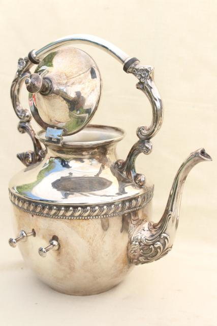 antique 1920s vintage tilt kettle teapot, silver plate over copper tea set