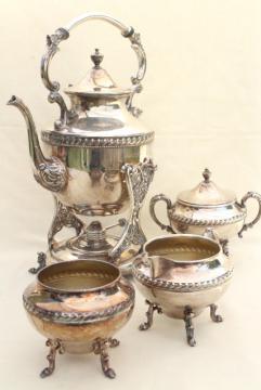 antique 1920s vintage tilt kettle teapot, silver plate over copper tea set