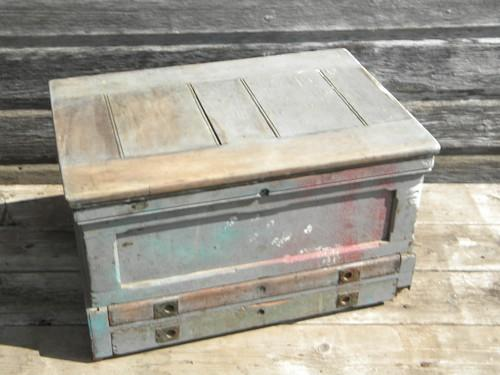 antique 19th C. pine wood tool box or chest w/hand cut dovetails and brass hardware