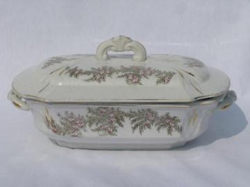 antique 19th century ironstone china covered serving dish tureen, old English transferware