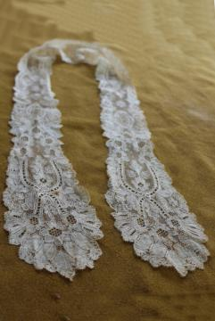 antique 19th century lace lappet collar or cap, mid 1800s civil war vintage needle bobbin lace