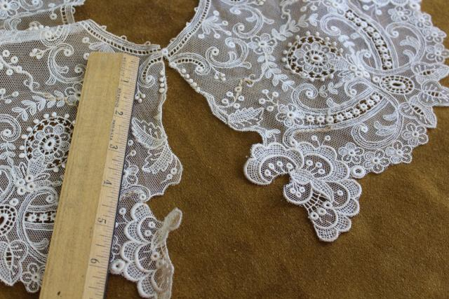 antique 19th century vintage french alencon lace, WIDE needle lace bertha collar w/ bobbles