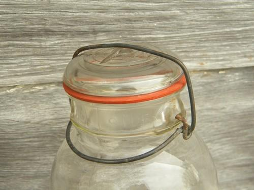 antique 2 qt Ball Ideal Mason storage jar or canister w/1908 patent