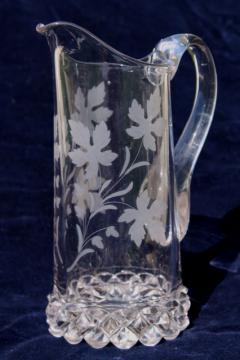 antique Amazon pattern pressed glass pitcher w/ leaf & vine, EAPG vintage glassware