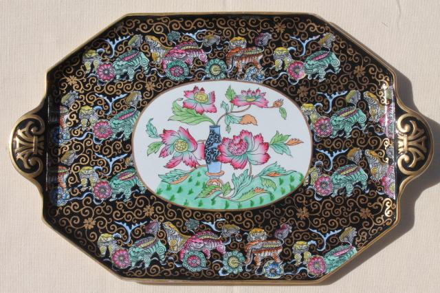 antique Ashworth Bros English china, Chinese black chinoiserie porcelain tea tray