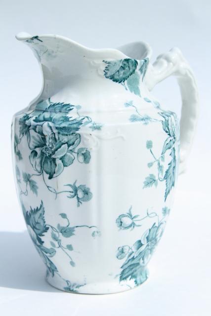 Antique Avon England Transferware China Pitcher Blue