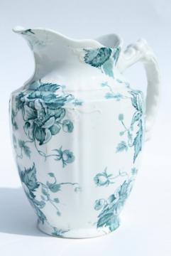 antique Avon - England transferware china pitcher, blue green floral, 1890s Winkle mark