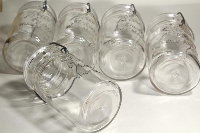 antique Ball Eclipse clear glass quart canning jars rare old wide mouth bail lid