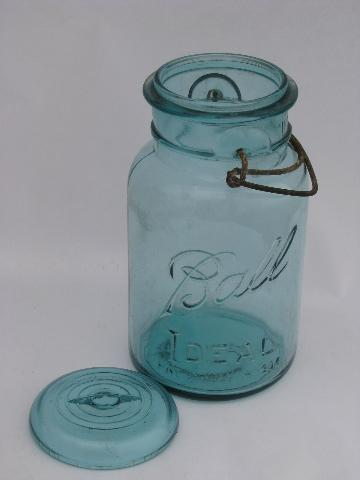 antique Ball Ideal mason canning jars lot, glass lightning lids w/ wire bails