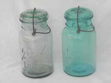 antique Ball Ideal mason jars/canisters, lightning lids and 1908 patent