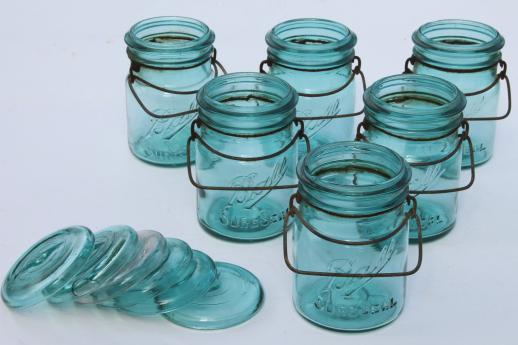 antique Ball mason jar canisters, 6 vintage aqua blue fruit jars w/ lightning lids