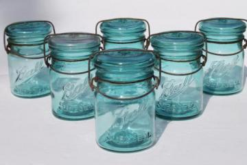 antique Ball mason jar canisters, 6 vintage aqua blue fruit jars w/ lightning lids