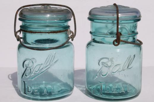 ball ideal mason jar. antique ball mason jar storage canisters, vintage aqua blue ideal jars 1908 patent e