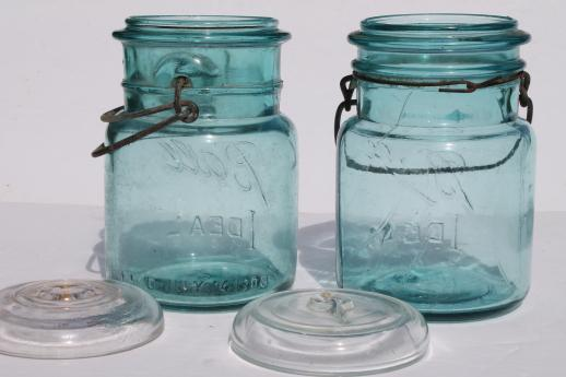 antique  Ball mason jar storage canisters, vintage aqua blue Ball Ideal Mason jars 1908 patent