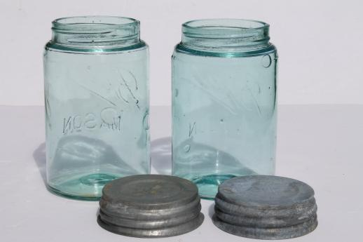 antique  Ball mason jars, vintage aqua blue glass storage jar w/zinc lid