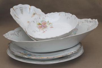 antique Bavaria & Germany china bowls lot, embossed porcelain w/ lovely old florals
