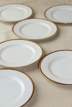 antique Bavaria china, Baronial gold band white porcelain cake plates vintage 1910