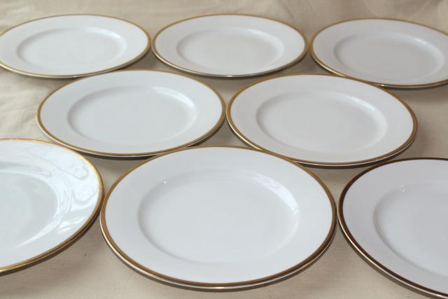 antique Bavaria china, Baronial gold band white porcelain salad plates vintage 1910