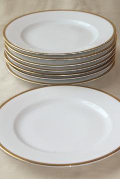 antique Bavaria china, Baronial gold band white porcelain salad plates vintage 1910