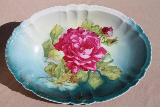 Antique Bavaria China Dish W Roses Floral Cabbage Rose