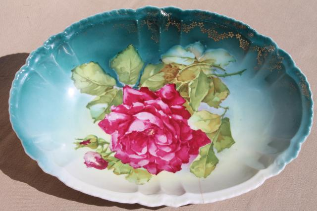 antique Bavaria china dish w/ roses floral, cabbage rose oval bowl shabby vintage chic