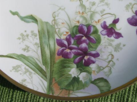 antique Bavaria china plate, hand-painted violets and lily of the valley