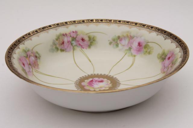 Antique Bavaria China Salad Bowl Or Fruit Dish W Hand
