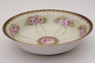 antique Bavaria china salad bowl or fruit dish w/ hand painted roses & gold edging
