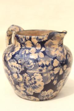 antique Buffalo china blue & white geranium leaf cream pitcher, shabby browned chintz china