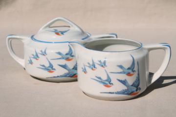 antique Buffalo china w/ bluebirds, vintage blue bird creamer & sugar set