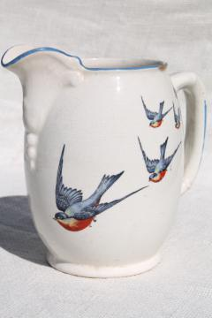 antique Buffalo china w/ bluebirds, vintage blue bird pitcher or milk jug