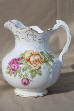 antique Buffalo china pitcher, large wash pitcher or jug w/ cabbage roses