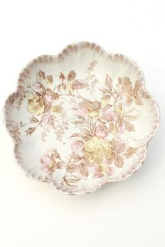 antique Burroughs & Mountford B&M china, wild rose pattern scallop shell bowl