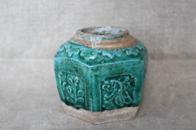 antique Chinese pottery ginger jar, small six sided pot w/ green glaze