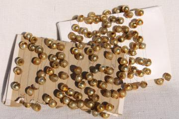 antique Christmas garland, gold mercury glass balls baubles, vintage tree ornament decoration