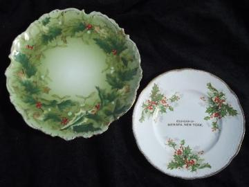 antique Christmas holly china plates, hand-painted Germany and souvenir