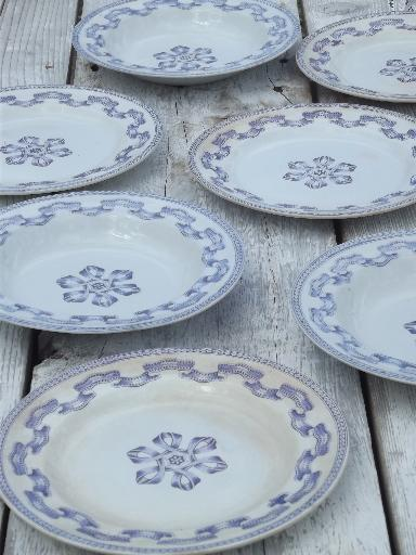 & antique Clyde - Scotland blue transferware ribbon china plates u0026 bowls