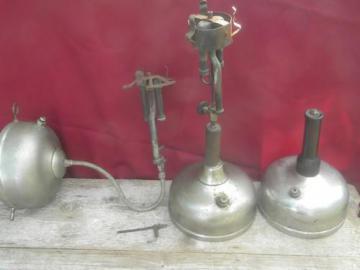 antique Coleman Quick-lite kerosene lanterns sconce and lamp, restoration