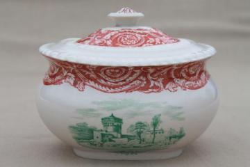 antique Copeland Spode china sugar bowl, aesthetic two color transferware red-brown & green