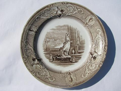 antique Davenport - New York transferware china plate, mid 1800s vintage