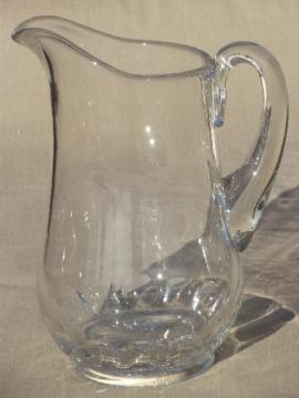 antique EAPG Dakota pattern clear glass water pitcher w/ thumbprint border