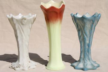 antique EAPG aesthetic natural form tree bark log vases, ivory custard glass