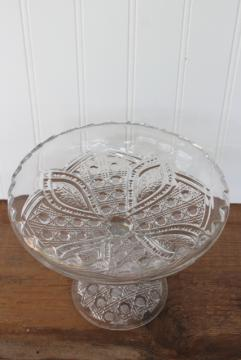 antique EAPG floral oval pattern pressed glass compote, daisy or cane & sprig