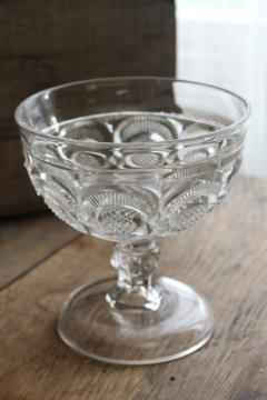 antique EAPG glass compote bowl, diamond point disk and crescent or eyewinker