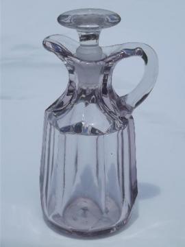 antique EAPG glass cruet bottle pitcher w/ stopper, colonial pattern