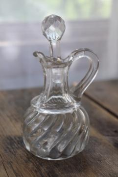 antique EAPG glass cruet bottle, pitcher with pontil mark 1800s vintage Fostoria