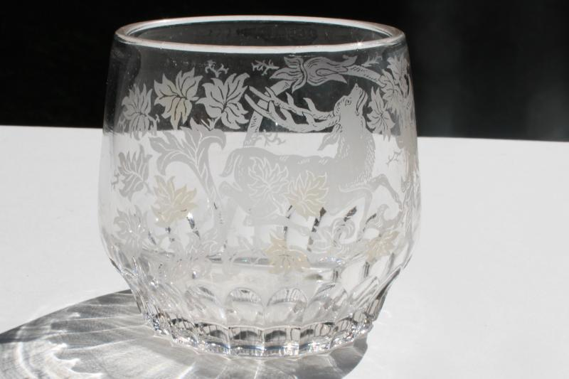 antique EAPG glass jar without lid, etched stag deer pattern glass late 1800s vintage