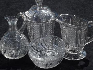 antique EAPG glass table set, cream & sugar, cruet, condiment bowls