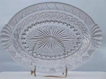 antique EAPG glass tray or platter, chain & shield pattern w/ fan handles