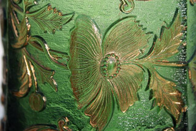 Antique Eapg Green Glass Celery Vase Floradora Pattern